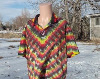 V Pattern Tie Dye Cotton Polo Shirt Large