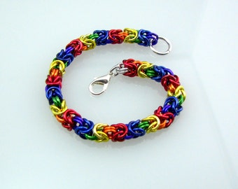 ON SALE True Colors Rainbow Pride Braid Chainmaille Bracelet