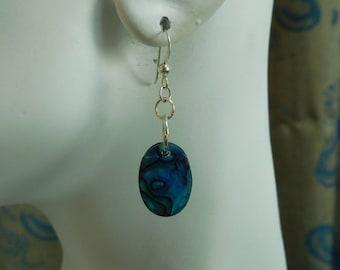 Medium deep blue paua shell and sterling dangle earrings. Medium oval shell drop earrings,