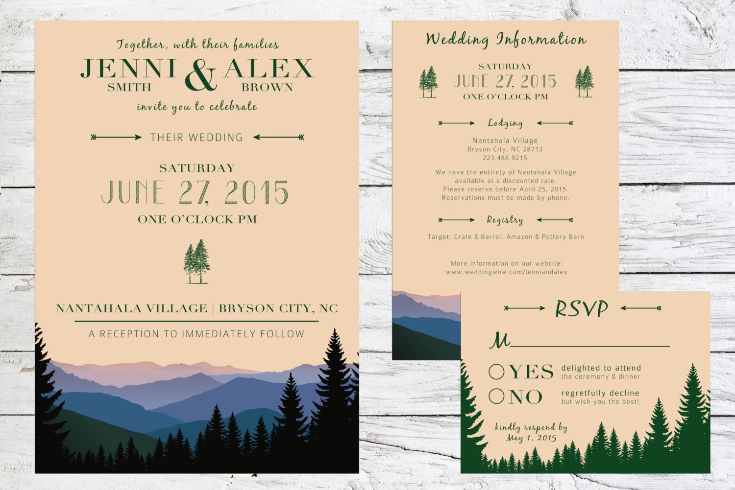 Rustic Mountain View Wedding Invitation Suite Mountains