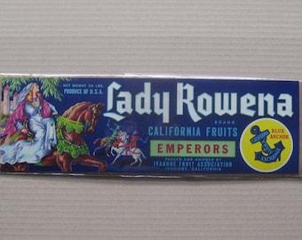 2 Labels 1950s Vintage Paper Fruit Crate Label Lady Rowena California #6