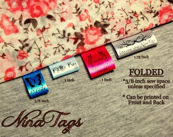 60 Custom Satin Clothing Labels - FOLDED - Fabric Garment Tags - NinaTags