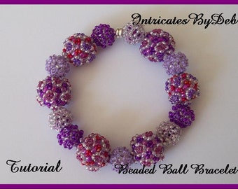 Tutorial Geometric Beaded Ball Bracelet with Seed Beads - Jewelry Beading Pattern, Beadweaving Instructions, PDF, Do It Yourself, How To