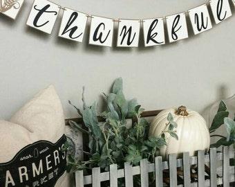 Thankful Banner, Thanksgiving Banner, Autumn Banner, Fall Decor, Fall Wedding Decor, Farmhouse decor.
