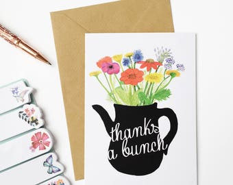 Thanks A Bunch - Illustrated Greetings Card - Thank You Card - Watercolour