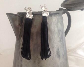 Bridal Fringe Earrings with Rhinestone Brooch, Crystal Earrings,Black Fringe Wedding Earrings, Long Dangle ,Drop