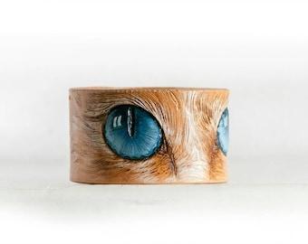 Blue cat's eyes leather painted bracelet, Cat's eyes, Hand painted tooled  leather bracelet, MADE TO ORDER,