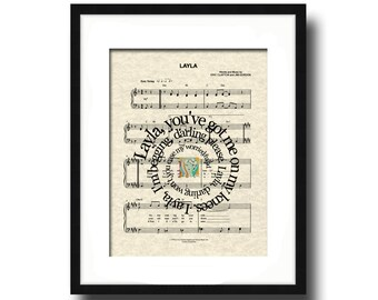 Layla Art Print, Layla Song Lyric Art, Layla Sheet Music Art, Spiral Word Art, Spiral Lyric Art, Music Wall Art