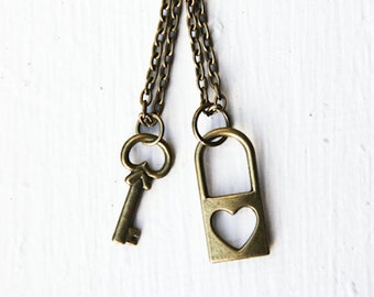 Friendship Key & Lock Necklaces- Bronze Love Heart- Best Friends Forever -bff- Anniversary, Love, Engagement