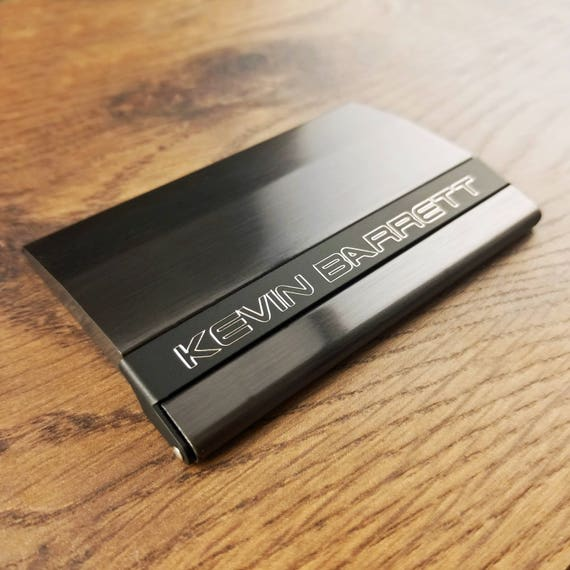 Business card holder gunmetal black with free engraving reheart Choice Image