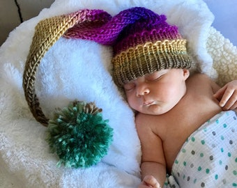 Newborn Hat - Knit Hat - Stocking Hat - Baby Photo Prop - Long Tail Hat - Baby Hat - Baby Stocking Hat - Hat Newborn - Newborn Photo Prop
