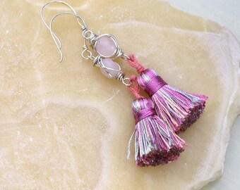 Pink Tassel Earrings with Rose Quartz Gemstone, Tassel Stone Earrings, Rose Quartz Earrings, Sterling Silver, Pink and Gray, Gift for Her