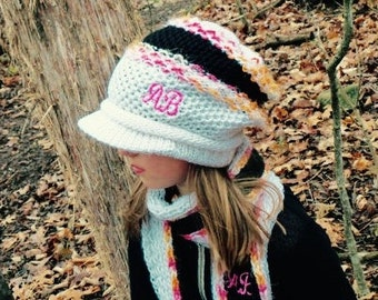 Gift Set For Women, Knit Scarf & Hat Gift Set, Monogrammed, Valentines Day Gift