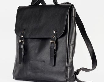 Black Satchel leather and suede backpack rucksack / To order / Leather Backpack / Leather rucksack / Christmas Gift