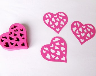 Paper hearts - Weddings - 50 die cut hearts - Valentines day - paper heart punches - paper decorations - scrapbooking - cupcake toppers