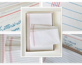 Vintage Eaton Stationery Set, Stylized Blue-Ruled Letter Sheets with Matching Envelopes