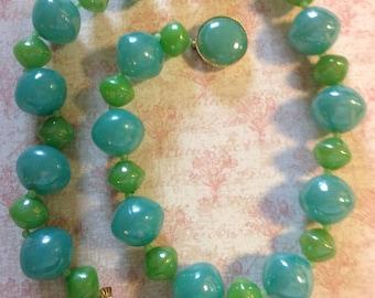 Vintage Beaded Necklace Aqua Green Necklace