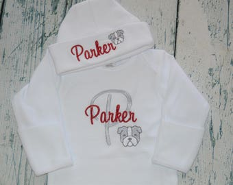 Monogrammed Newborn Baby Gown and Hat Set Monogrammed Bulldog Baby Outfit