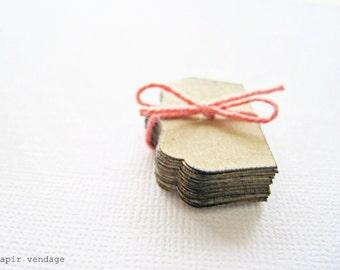 "Mini Notecards, Teeny Tiny 1"" Notecards,Antiqued Edged Mini Notecards for Mini Envelopes, Mini Kraft Notecards, Mini Stationary, Mini Paper"