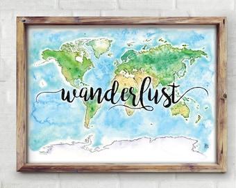 Wanderlust World Watercolor Map - Giclée Print of Hand Painted Original Art