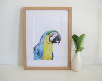 Watercolour Macaw Print, Blue, Yellow, Green, Watercolour Animals