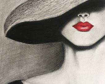 Red Lips Print, Charcoal