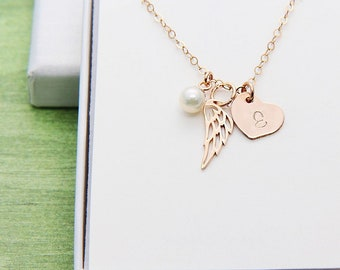 Angel Wing Necklace, Personalized Necklace, Rose Gold Wing Necklace, Memorial Necklace, Remembrance Necklace, Initial Necklace, Gift for Her