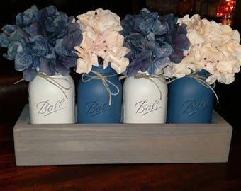 Rustic Blue/Cream Mason Jar Centerpiece, Rustic Mason Jar Centerpiece, Rustic Decor, Centerpiece, Wedding, Housewarming, Gift