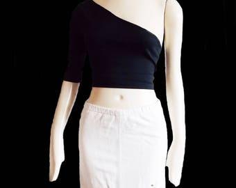 vintage 1980s white leather mini skirt/ 80s studs rhinestones skirt/ Avant Garde skirt