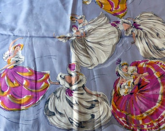 Vintage Dancing Girls Silk Scarf Hadson Japan