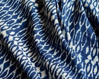 Indigo and White Designer Print Mulmul Fabric