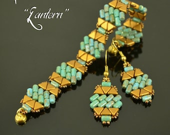 LANTERN Beading tutorial Beaded bracelet earrings pattern with 2 hole Rulla Kheops par Puca Seed beads Beadweaving - TUTORIAL ONLY