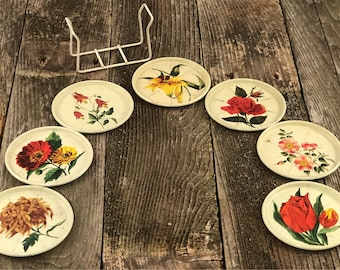 Tin Floral Coasters with Holder Set of 7