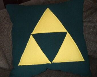 Legend of Zelda Triforce Fleece Pillow - GREEN