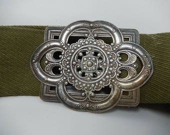 Old Belt and Art Nouveau Belt Buckle, Silver Metal, Free Shipping!