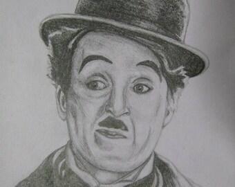 Charlie Chaplin A4 Drawing