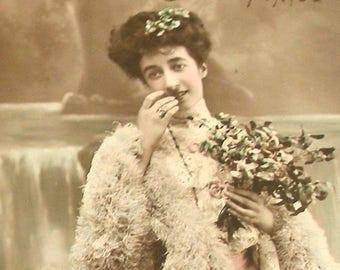Antique French postcard, Lady with mistletoe, RPPC real photo postcard, paper ephemera.