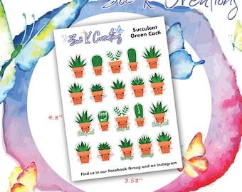 Succulent Cactus Planner Stickers, Cactus Stickers, Plant Stickers, Prick Stickers, Cacti Stickers, Planner Stickers, Traveler's Notebook