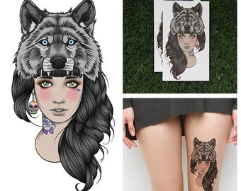 Tattify Wolf Headdress Temporary Tattoo - Leader of the Pack (Set of 2)