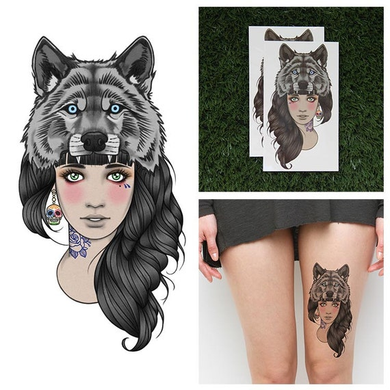 Tattoos Wolf Tattoos Headdress Tattoo: Tattify Wolf Headdress Temporary Tattoo Leader Of The Pack