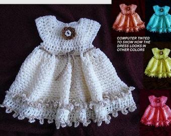 CROCHET PATTERN, crochet Baby Dress -Double Frill Girl's Dress - newborn to age 6 - number 772