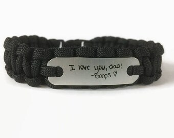Handwriting bracelet for Dad - Loss of child gift for a father - Men's custom jewelry from wife & kids for any ocassion - Paracord Bracelet