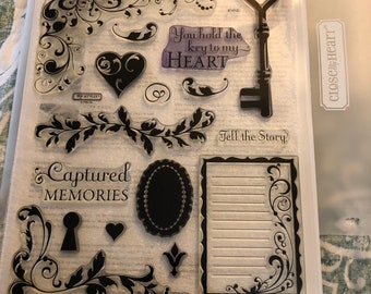 CTMH Gently used Key To My Heart acrylic stamp set