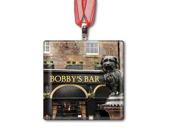 Bobby's Bar in Edinburgh Scotland - Handmade Glass Photo Ornament