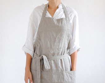 Natural linen apron, full linen apron, linen woman apron, linen apron with pockets, linen christmas gift, kitchen linen apron