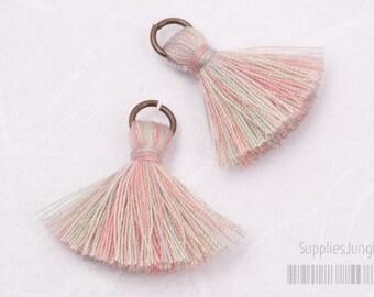 T002-CO-LPR// Multi Light Pink Rainbow Cotton Tassel Pendant, 4pcs, 23mm