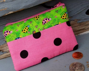 Ladybug Coin Purse, Girls Zipper Wallet, Ear Bud Pouch, Change Purse, Polka Dot Coin Purse, Pink Coin Purse, Ear Bud Pouch, Kids Coin Pouch