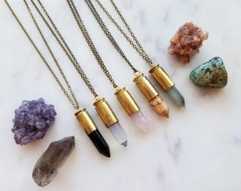 Sassafras Brass Bullet Necklace