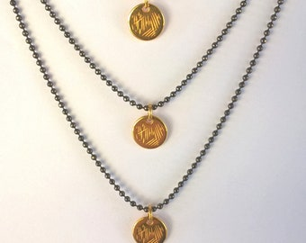 Layered Necklace Circle Pendants | Triple Row Necklace with 3 Round Charms Rose Gold Plated