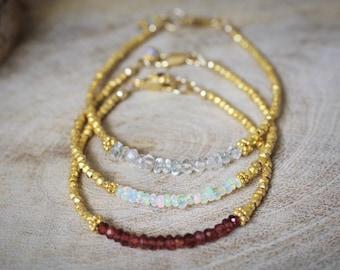 Birthstone Bracelet // Gemstone Bracelet // Gold Vermeil Bracelet // Gift for Her